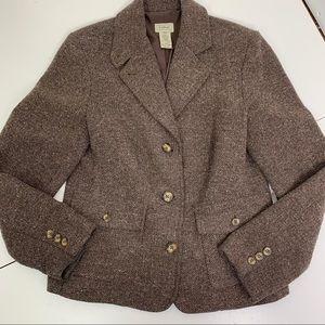 LL Bean brown tweed wool & silk brown blazer